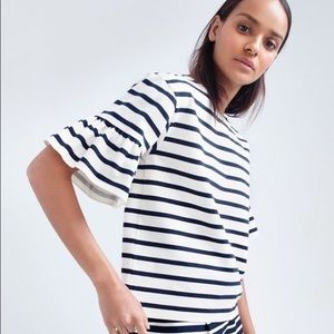 J.Crew Classic Navy Striped Ruffle Sleeve Top XS